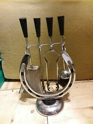 Vintage horseshoe wood burner companion set open fire horse shoe brush poker