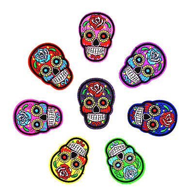 8x Sugar Skull Iron/Sew on Cloth Patch Embroidered Badge DIY Embellishment