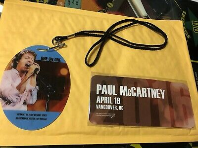 Paul McCartney 2016 One On One Tour VIP Vancouver B.C. Music Badge Pass & Ticket