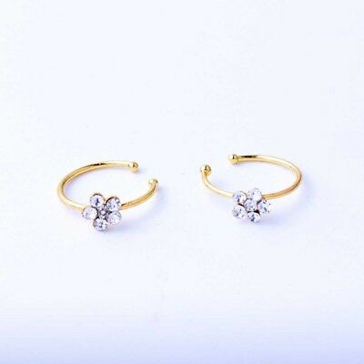 Small Thin Clear Crystals Flower charm Nose Silver Hoop Stud Ring jewelry W