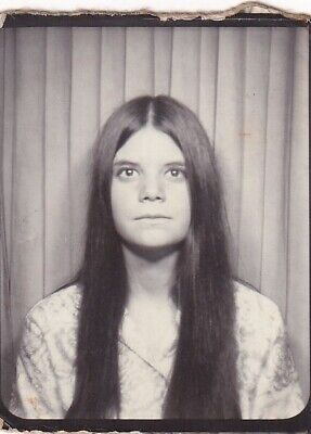 Vintage Photo Booth: Non-Expressive Looking Young Girl With Very Long Hair