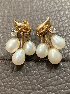 Vintage 14K Yellow Gold White Pearl & Diamond Stacked Stud Pierced Earrings