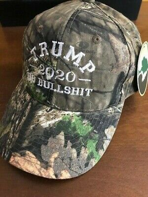 TRUMP 2020 NO BULLSHIT MOSSY OAK  Camo Cap Hat Embroidered Red White and Blue