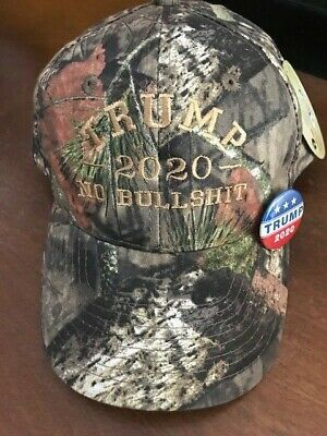TRUMP 2020 NO BULLSHIT MOSSY OAK Camo White Tan Embroidery with FREE 2020 Pin