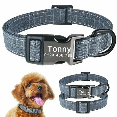 Personalised Dog Collar Pet Name ID Custom Engraved Small Medium Large Puppy