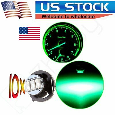 10X Green 3-3014SMD T4/T4.2 Neo Wedge LED Climate Control Instrument Light Bulbs