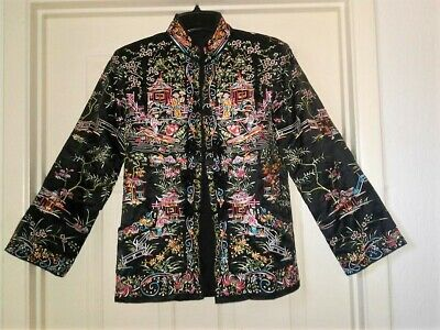 af6a055cf chinese silk embroidered figural robe coat kimono jacket bird women flowers  1DAY
