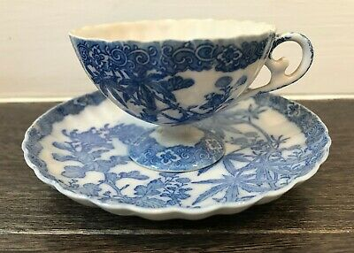 Antique porcelain coffee cup&saucer, scalloped edge, blue/white Chinese floral