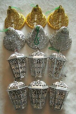 12 x Vintage Kitsch Silver / Gold Bells And Lantern Christmas Decorations - Good