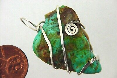 BUTW Hammered Sterling Silver Wire Wrapped Turquoise Pendant Necklace 9443P