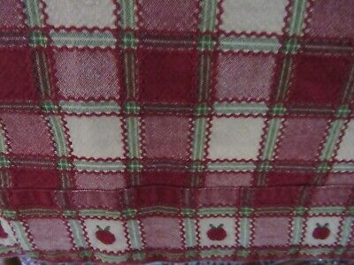 """Park Designs Apple Cobbler Plaid Apples Embroidered Deep Red Tablecloth  54""""X 76"""