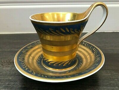 Antique porcelain coffee cup&saucer, possibly Berlin KPM 18th, blue/gold wheat