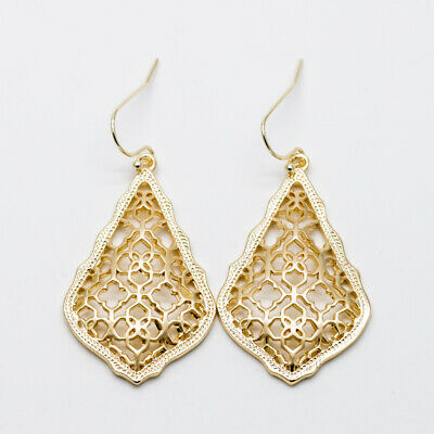 New Authentic $65 Kendra Scott Addie Silver Drop Earrings In Silver Filigree Mix