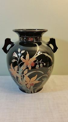 GOLD CASTLE TWO Handle Vase Made in Japan Red Letter 5 1/8