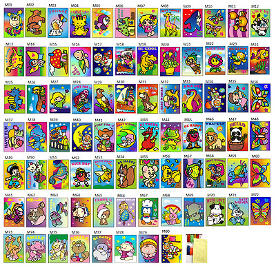 Medium size Sand Art Card (16 cards in 16 designs) for party, fete, fundraising