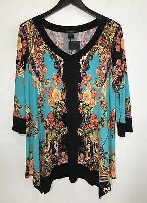 ae00c06c703 NWT Eva Varro Multi Colored Floral Asymmetric Hem 3/4 Sleeve Tunic Top L