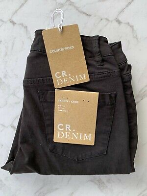 country road : stretchy skinny crop zip sateen jean black size: 4.6.8 -NEW- $119
