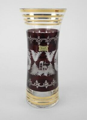Egermann Bohemian Ruby Red Cut Clear Crystal Art Glass Vase Gold Czech Republic
