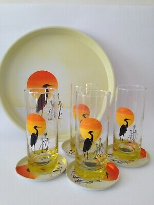 Vintage Retro Panache Drinking Glasses, Tray Coasters Set