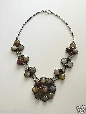 18th Century Old Natural Agate Stone Beads Necklace Pendant Antique Jewelry #739