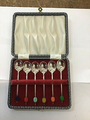 Vintage Silver Plated Tea spoons Coffee bean England Boxed