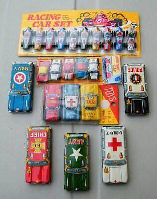 Lot Of 13 Cute Vintage Japan Tin Toys Cars + One Toy Racing Car Set