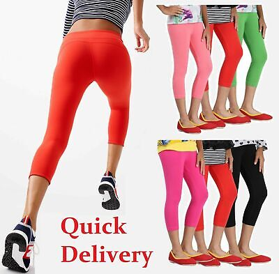 Womens Cropped 3/4 Leggings Active Capri Length Stretchy Pants Sizes 6-20^3/4CTn