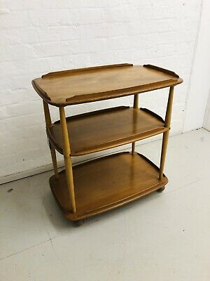 Mid Century Ercol Elm And Beech Light Cocktail/Tea Trolley Excellent Condition