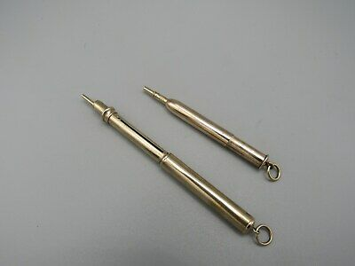 TWO ANTIQUE GOLD CASED PENCILS early 20th CENTURY