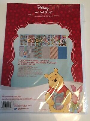 Disney A4 Paper Kit Winnie Pooh Christmas Backgrounds, Die Cut character Sheets