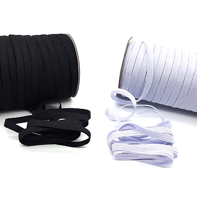 Flat Elastic Cord Sewing Black White 5mm 10mm