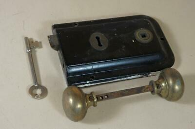 Vintage Union rim lock 100mm by 150mm with key & brass handles - no keep (lot 6)