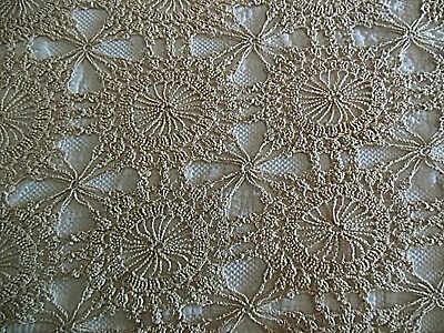 "Vintage Ecru Chrocheted Lace Table Cloth 74"" x 64"" Excellent Condition"