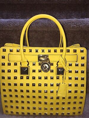 3d8f0bf0db44a1 NWTMICHAEL KORS Hamilton PURSE Large NORTH SOUTH STUDDED Citrus Pyramid TOTE  BAG