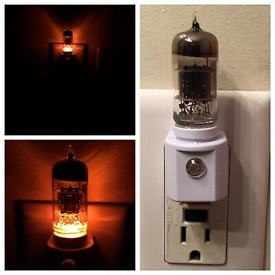 12AX7 Amber Steampunk Vacuum Tube LED Night Light made with Gibson Guitar Decal