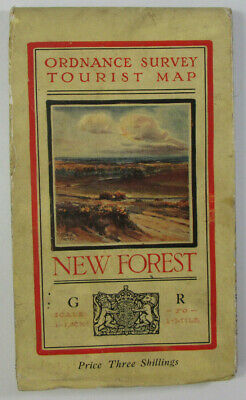 1938 Old Vintage OS Ordnance Survey One-Inch Tourist Map New Forest 8038 5th Sty