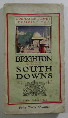 Vintage 1922 OS One Inch Tourist Map Brighton & The South Downs Ordnance Survey