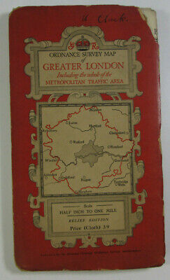 1935 OS Ordnance Survey Half-Inch Special District Relief Map Greater London