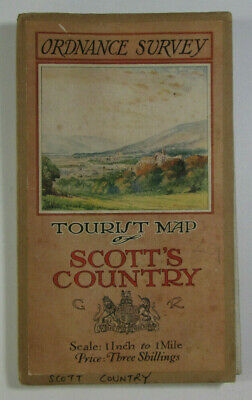 1924 Old Vintage OS Ordnance Survey One-Inch Tourist Map Scott's Country