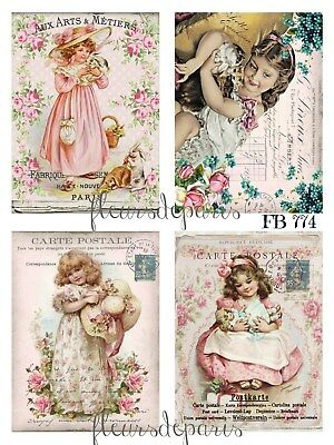~ Shabby Chic Vintage Girls Roses 4 Prints on Fabric Quilting Sewing FB 774 ~