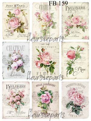 Shabby Chic Vintage French Pink Roses 9 Small PRINTS on FABRIC Quilting FB 159