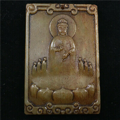"""3"""" Chinese antique Natural hetian old jade handcarved guanyin statue Pendant"""