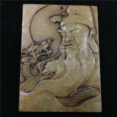 Chinese antique Natural hetian white jade handcarved Guangong dragon Pendant