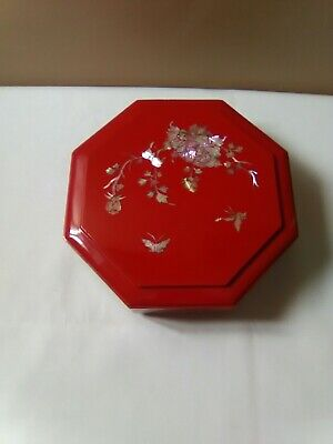 Vintage Red Octagon Mother Of Pearl Inlay Storage Box