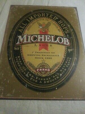 MICHELOB LAGER BEER Imported Sign Tin Vintage Garage Bar Decor Rustic man cave