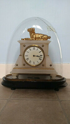 French Alabaster mantel clock Surmounted gilded Dog and Eagle  under glass dome