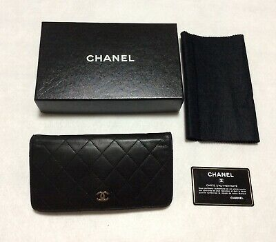 08a6e48ed1a349 CHANEL Authentic CC Logos Quilted Long Wallet Purse Lamb Leather Black