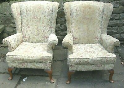Pair of Vintage Parker Knoll Wing Armchairs with Original Springs PK720/45