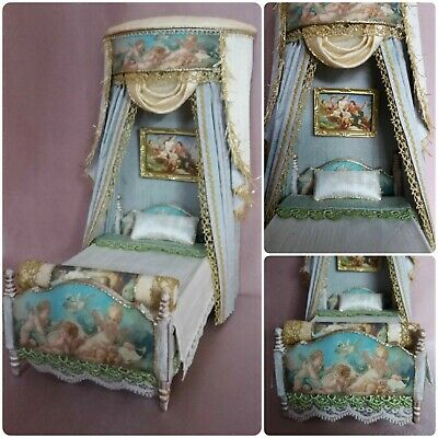 Dolls house 1:12th scale Single Bed with Canopy ~by Evagreen35