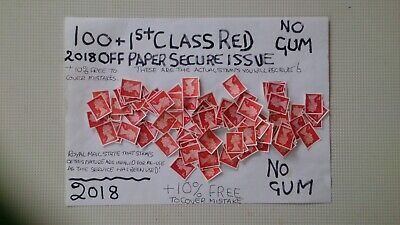 100 Unfranked 1St Class Red 2017 Secure Cutout Stamps  , Off Paper Plus Ten Extr